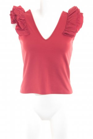 Zara Trafaluc Top met franjes rood casual uitstraling