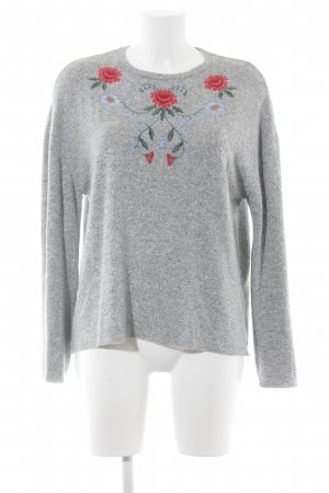 Zara Trafaluc Rundhalspullover Blumenmuster Casual-Look