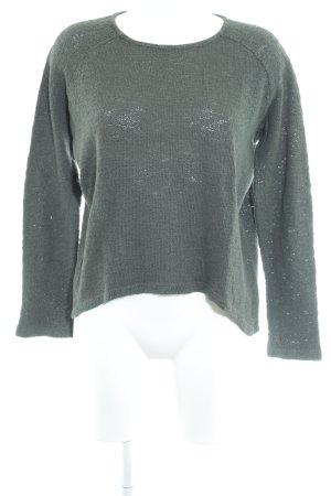 Zara Trafaluc Rundhalspullover dunkelgrün Webmuster Casual-Look