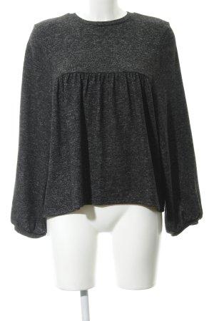 Zara Trafaluc Kraagloze sweater grijs-donkergrijs gestippeld casual uitstraling