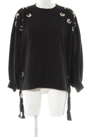 Zara Trafaluc Rundhalspullover schwarz-silberfarben Casual-Look