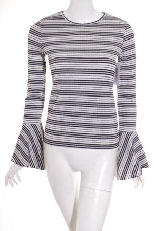 Zara Trafaluc Rundhalspullover schwarz-weiß Streifenmuster Casual-Look