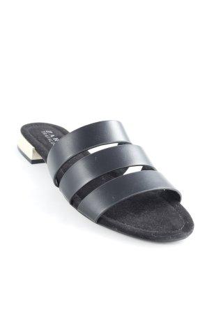 Zara Trafaluc Sabots schwarz-goldfarben klassischer Stil