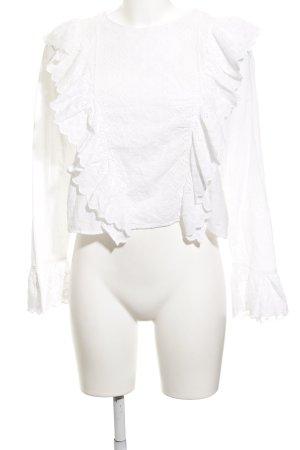 Zara Trafaluc Schlupf-Bluse weiß florales Muster Romantik-Look