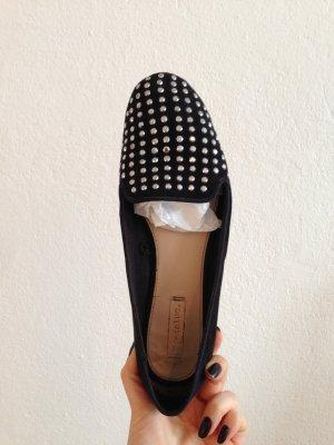 Zara Trafaluc Schuhe, Loafers, schwarz, Glitzer, Glitzersteine, Gr.40