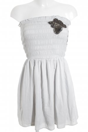 Zara Trafaluc schulterfreies Kleid blassblau Glitzer-Optik