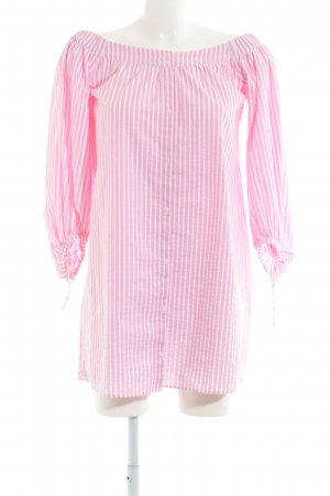 Zara Trafaluc Abito senza spalle rosa-bianco stile casual