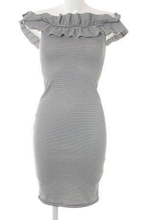 Zara Trafaluc schulterfreies Kleid schwarz-weiß Ringelmuster extravaganter Stil