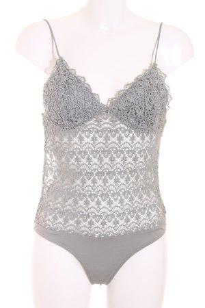 Zara Trafaluc Shirtbody graugrün Lingerie-Look