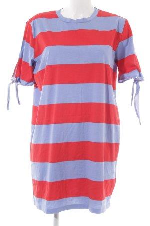 Zara Trafaluc Shirtkleid rot-kornblumenblau Streifenmuster Casual-Look