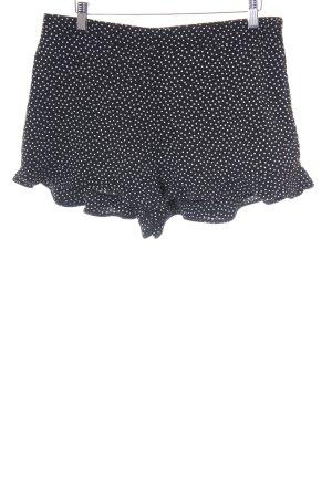 Zara Trafaluc Shorts schwarz-weiß Punktemuster Beach-Look