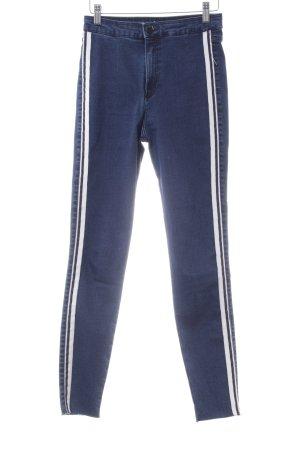 Zara Trafaluc Skinny Jeans blau-weiß Casual-Look