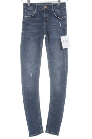 Zara Trafaluc Skinny Jeans blau Destroy-Optik