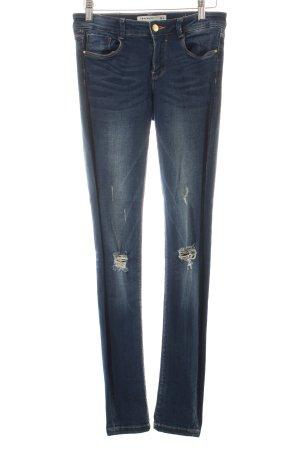 Zara Trafaluc Skinny Jeans blau-wollweiß Destroy-Optik