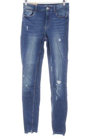 Zara Trafaluc Skinny Jeans dunkelblau-hellbraun Jeans-Optik