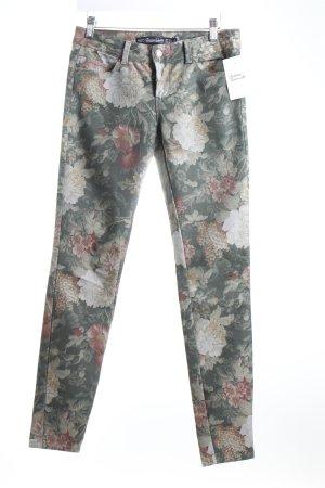 Zara Trafaluc Skinny Jeans dunkelgrün Blumenmuster Romantik-Look