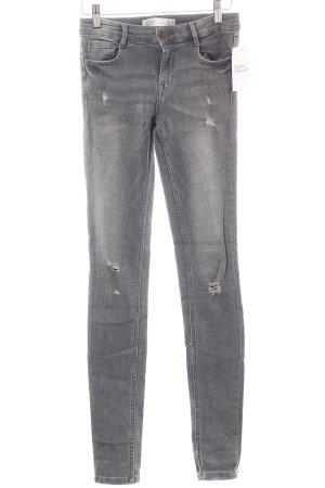 Zara Trafaluc Skinny Jeans grau Destroy-Optik