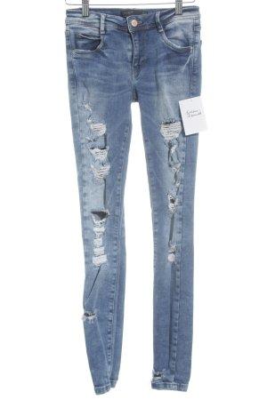 Zara Trafaluc Skinny Jeans graublau-wollweiß Destroy-Optik