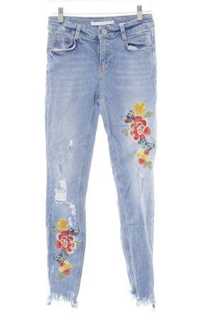 Zara Trafaluc Skinny Jeans himmelblau florales Muster Destroy-Optik