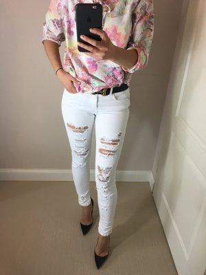 ZARA Trafaluc Skinny Jeans Hose Gr. 38 Weis zerrissen
