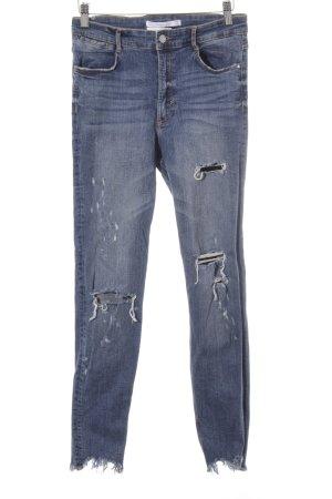 Zara Trafaluc Skinny Jeans stahlblau Destroy-Optik