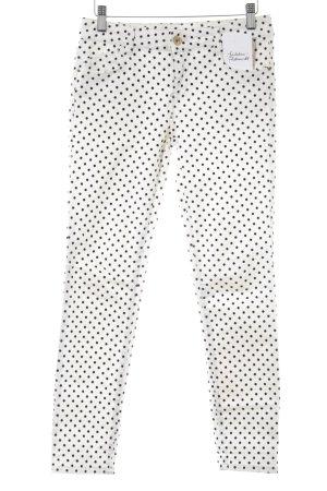 Zara Trafaluc Skinny Jeans wollweiß-schwarz Punktemuster Samt-Optik