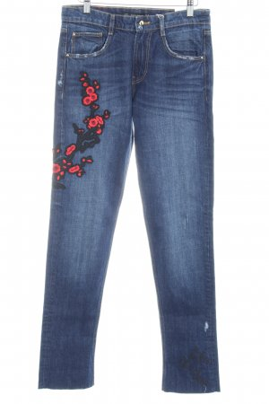 Zara Trafaluc Slim Jeans dunkelblau Blumenmuster Beach-Look
