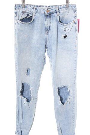 Zara Trafaluc Slim Jeans himmelblau Destroy-Optik