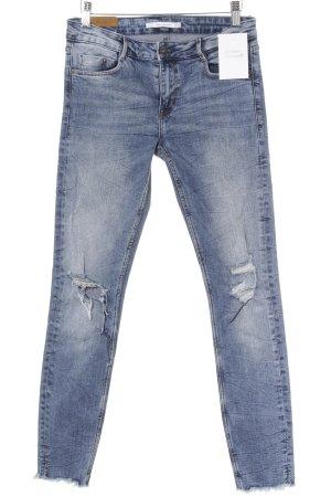 Zara Trafaluc Slim Jeans kornblumenblau Destroy-Optik