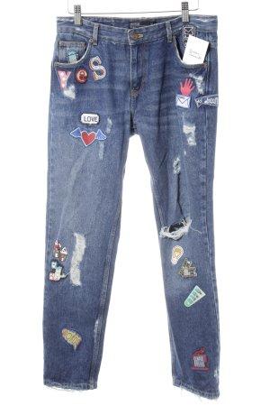 Zara Trafaluc Slim Jeans stahlblau Destroy-Optik