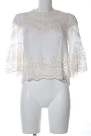 Zara Trafaluc Spitzenbluse weiß-wollweiß Blumenmuster Business-Look