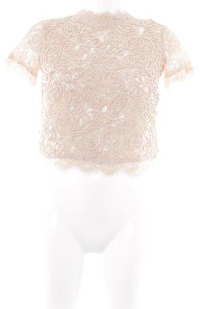 Zara Trafaluc Spitzenbluse apricot florales Muster klassischer Stil