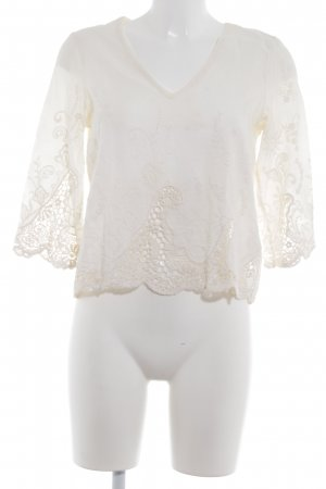 Zara Trafaluc Spitzenbluse creme florales Muster Romantik-Look
