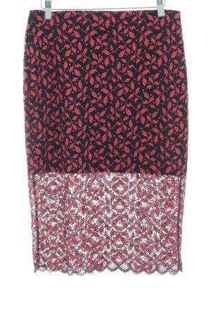Zara Trafaluc Jupe en dentelle noir-rouge clair motif floral style décontracté
