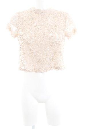 Zara Trafaluc Top de encaje nude estampado con diseño abstracto