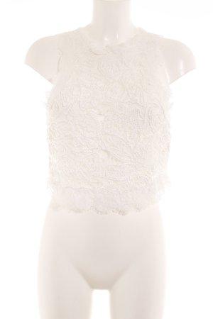 Zara Trafaluc Spitzentop wollweiß-weiß florales Muster Romantik-Look