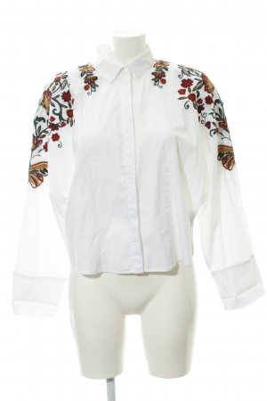 Zara Trafaluc Stand-Up Collar Blouse flower pattern business style