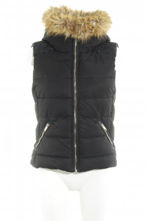 Zara Trafaluc Quilted Gilet black-anthracite material mix look