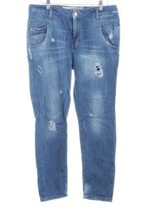 Zara Trafaluc Straight-Leg Jeans stahlblau-dunkelblau Boyfriend-Look