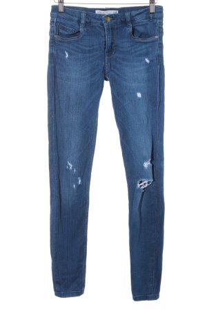 Zara Trafaluc Stretch Jeans stahlblau Destroy-Optik