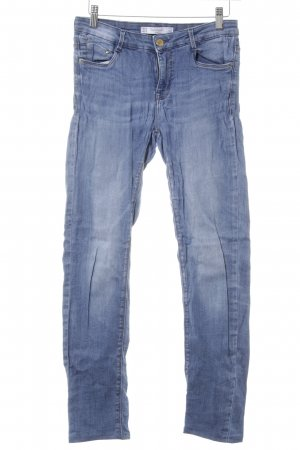 Zara Trafaluc Stretch Jeans stahlblau Washed-Optik