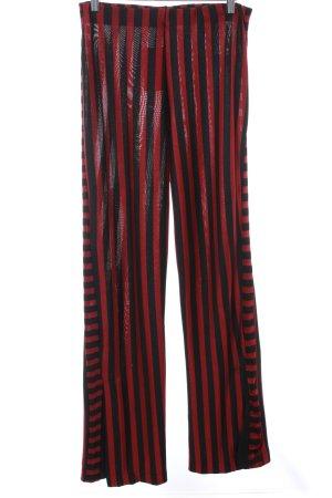 Zara Trafaluc Stretchhose schwarz-dunkelrot Streifenmuster 70ies-Stil