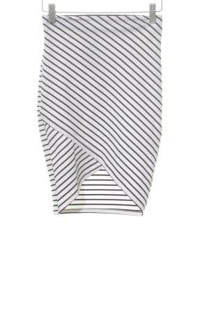 Zara Trafaluc Stretchrock weiß-schwarz Streifenmuster Casual-Look