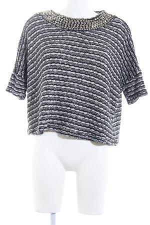 Zara Trafaluc Strickshirt schwarz-weiß meliert Nietenelemente