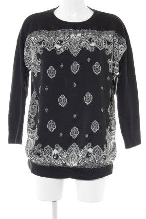 Zara Trafaluc Sweatshirt schwarz-weiß Ornamentenmuster Casual-Look