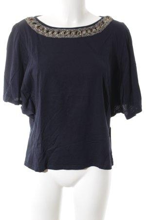 Zara Trafaluc T-Shirt dunkelblau Glitzer-Optik