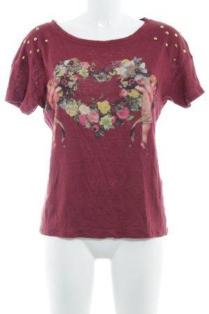 Zara Trafaluc T-Shirt karminrot Motivdruck Boho-Look