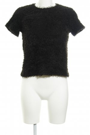 Zara Trafaluc T-Shirt schwarz Kuschel-Optik