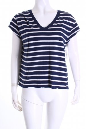 Zara Trafaluc T-Shirt weiß-dunkelblau Streifenmuster Marine-Look