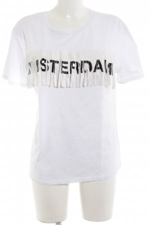 Zara Trafaluc T-Shirt weiß platzierter Druck Casual-Look